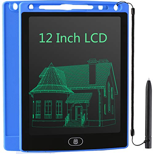 JOEAIS Tableta Escritura LCD 12 Pulgadas, Anti-caída Tablet Dibujo, Tablet para Dibujar para Niños, Regalo para Niños Niñas (Azul oscuro)