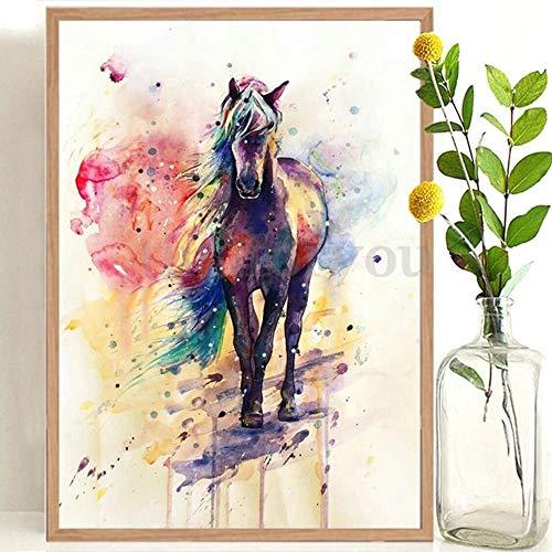 Frameloze regenboog paard decoratie Nordic droom dier moderne minimalistische muurschildering woonkamer foto <> 30x45cm