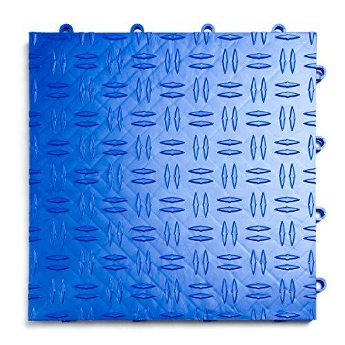 GarageTrac Diamond, Durable Interlocking Modular Garage Flooring Tile (48 Pack), Royal Blue