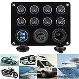 Auveach Pannello Interruttori 8 Gang con 2 USB e Voltmetro Controllo LED Rocker IP68 Impermeabile 12V / 24V per Auto, Barca e Marina