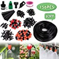 """Drip Irrigation System, Automatic Garden Watering System with Adjustable Dripper 82ft 1/4"""" Blank Distribution Tubing Hose Drip Irrigation Kit 156 Pcs for Greenhouse, Garden, Flower Bed,Patio,Lawn"""