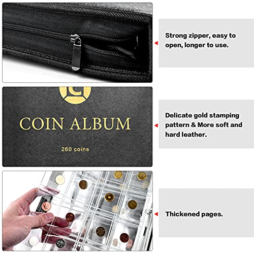 Coin Collection Book Holder for Collectors, 260 Pockets Coins Collecting Album with Zipper and Handle. Coin Display Storage Case for Money Currency Collection Supplies, Bill Commemorative (Box Only)