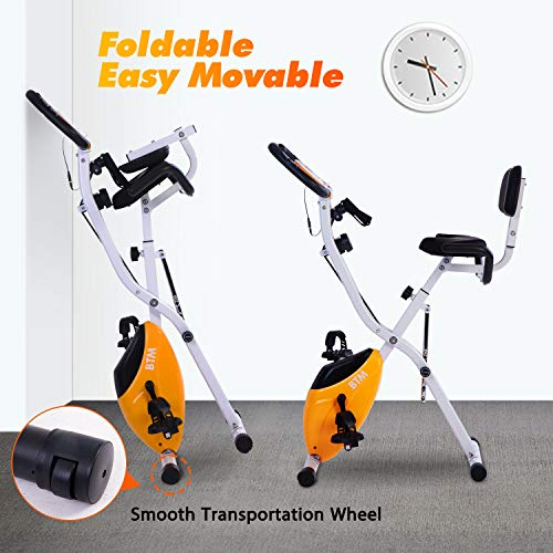BTM G500 Folding Cycling Exercise Bike Indoor Fitness Training X Bike Lightweight for Home Cardio Workout, with Flywheel and Arm Resistance Bands (Orange Flywheel)