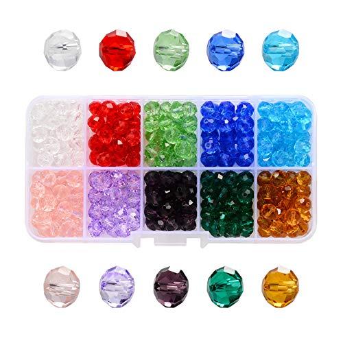 Cuentas De Vidrio De Color Cristal Facetado Perlas Perlas De Vidrio Facetado Piedras Preciosas Perlas De Vidrio Colores Perlas Multicolores Con Caja Para Joyería Diy Collar Pulsera Manualidade