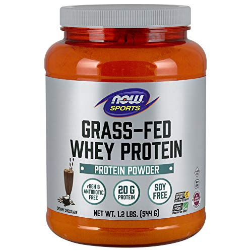 NOW Sports Nutrition, Grass-fed Whey Protein Concentrate, Creamy Chocolate Powder, 1.2-Pound