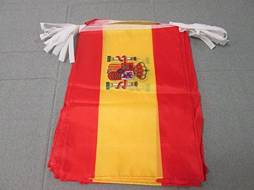 AZ FLAG Guirnalda 12 Metros 20 Banderas de ESPAÑA 45x30cm - Bandera ESPAÑOLA 30 x 45 cm - BANDERINES