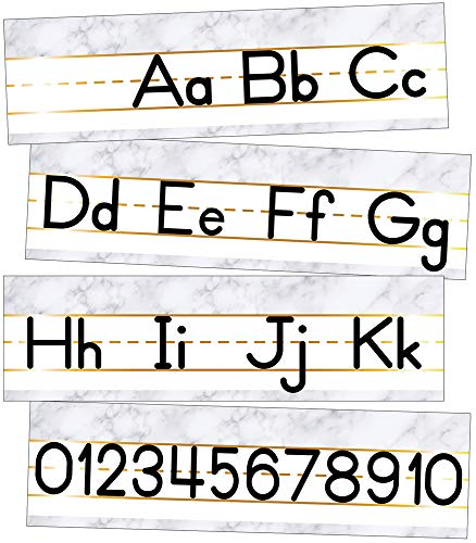 Schoolgirl Style Simply Boho Mini Manuscript Bulletin Board—Alphabet Letters, Numbers Line, Language Arts and Math Skills Practice, Classroom or Homeschool Learning (8 pc)