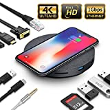 2020 Version USB C Hub with Wireless Charger,11 in 1 USB C Adapter with Ethernet,4K USB C to HDMI,VGA,3 USB3.0 PD,SD TF Card Reader,Audio/Mic,for MacBook Pro,Ipad Pro and Other Type C Laptops