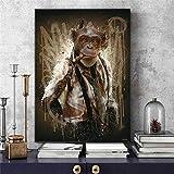 ZHJJD Cool Guapo Mono Moderno Arte de la Pared decoración Animal Graffiti Arte Pintura Pared Arte Carteles Impresiones imágenes Sala de Estar Dormitorio 60x80cm sin Marco