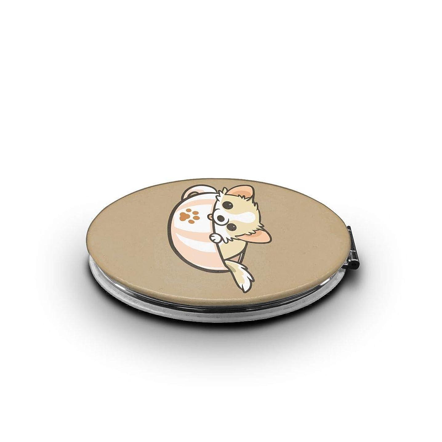 誓約ロープ適合する携帯ミラー かわいいチワワミニ化粧鏡 化粧鏡 3倍拡大鏡+等倍鏡 両面化粧鏡 楕円形 携帯型 折り畳み式 コンパクト鏡 外出に 持ち運び便利 超軽量 おしゃれ 9.0X6.6CM
