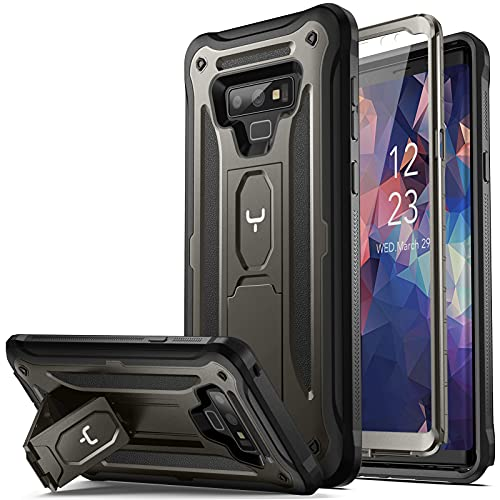 YOUMAKER Kickstand Case for Galaxy Note 9, Full Body with Built-in Screen Protector Heavy Duty Protection Shockproof Rugged Cover for Samsung Galaxy Note 9 6.4 Inch - Gun Metal/Black
