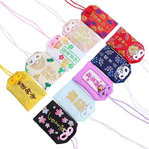 BESPORTBLE 10 Piezas de Saquito Japonés Omamori Amuleto de La Suerte Llavero de La Suerte Colgante de Decoración Colgante de Protección Japonés Amuleto de La Buena Suerte para El Amor