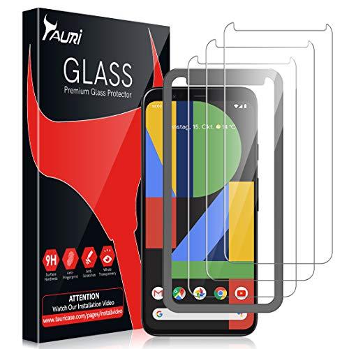 TAURI [3 Stück Schutzfolie für Google Pixel 4, Pixel 4 Panzerglasfolie [Alignment Frame] [Einfache Installation] [9H Härte] [Anti-Kratzen/Öl/Bläschen] HD Klar Glas Displayschutzfolie