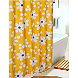 S-ZONE Sunflower Pattern Mildew Proof Polyester Fabric 72*72 inches Shower Curtain, with 12 Hooks