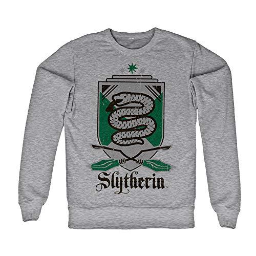 HARRY POTTER Licenza Ufficiale Inked Slytherin 07 Felpa (Grigio Chiaro) Medium