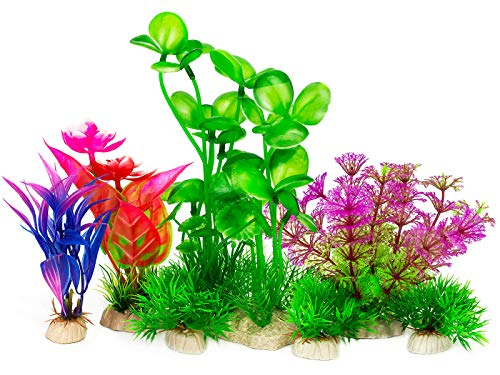 LUYINN 7PCS Artificial Fish Tank Plants, Aquarium Plants for Aquarium Decorations, Fish Tank Decorations Suitable for Home and Office Fish Tank Accessories