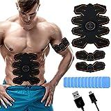 WeightWorld Electroestimulador Muscular Abdominales - Estimulador Eléctrico USB Recargable, para Abdomen, Brazos, Piernas y Cintura, Masajeador y Reductor Abdominal 8 Nodos, Tonificador Muscular