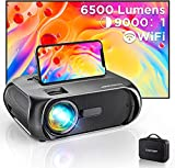 Bomaker - Proiettore Wi-Fi, supporto 1080P Full HD proiettore portatile 6500L, proiettore portatile multimediale Home Cinema Outdoor Film per Telefono/Tablet/TV Stick/PS4/HDMI/VGA/AV
