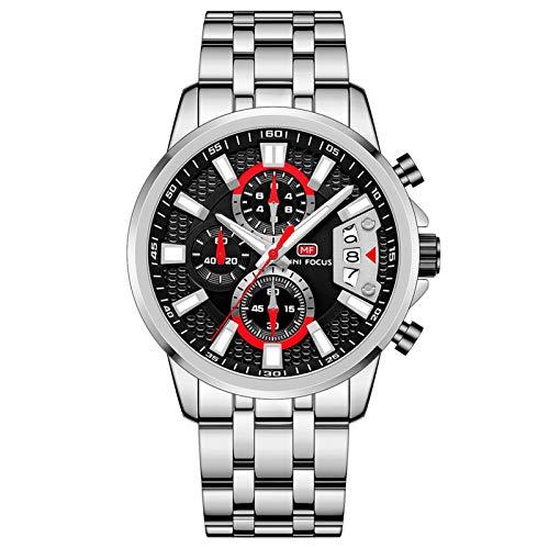 JTTM Relojes Hombre Acero Inoxidable Impermeable Deportes Analógico Cuarzo Reloj Negocios Cronógrafo Relojes Hombre,Steel Black