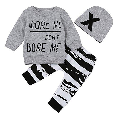 Ropa Bebe Niño Otoño Invierno,Fossen 3PC/ Conjuntos Camisetas de Manga Larga + Pantalones + Sombrero,Estilo de Animal (0-6 Meses, BADORE ME Don't BORE ME)