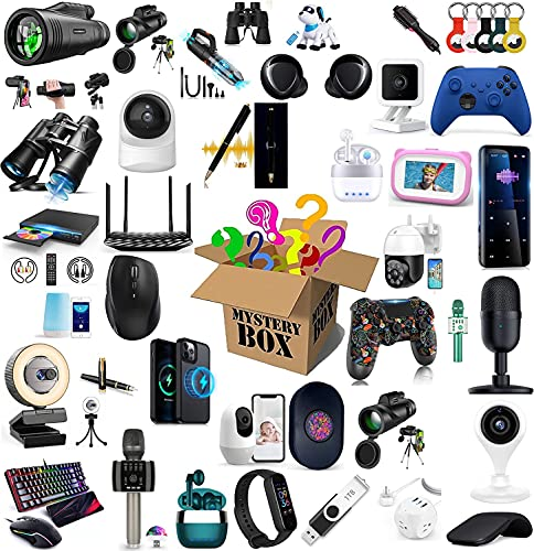 Lievevt Scatola cieca Mysterys Boxs, Mysterys Boxs Electronics, Surprise Boxs, Electronic Equipment, You Will Likely Get: Phone Drone Smart Watch Bluetooth Headset Anything Possible Mysterys Gift Boxs