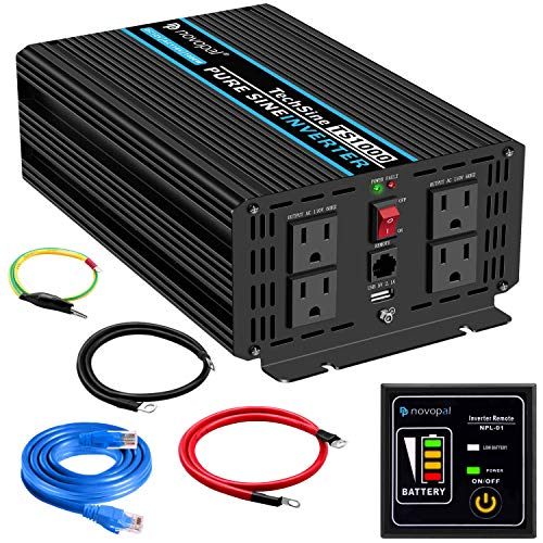 Novopal Pure Sine Wave Power Inverter 1000 Watt 12V DC to 110V/120V AC Converter 4 AC Outlets Car Inverter with One USB Port 16.4 Feet Remote Control and Two Cooling Fans(5th Generation Upgrade)