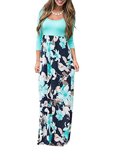 Demetory Women`s Autumn 3/4 Sleeve Empire Waist Floral Flowy Tunic Tank Top Long Maxi Dress Sky Blue Medium
