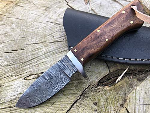 Perkin Cuchillo Caza Cuchillo de Acero Damasco SK300