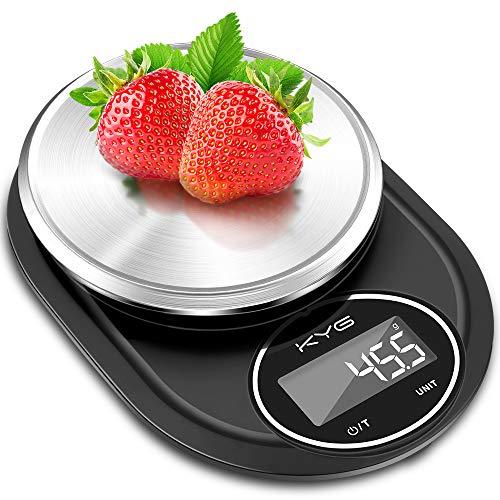 KYG Bilancia da Cucina Smart Digitale con Funzione Tare 5kg / 11lbs Bilancia Cucina Digitale Acciaio Inox ad Alta Precisione 0.1g, Conversione Unità, LCD Display (2 Batteries Incluse)