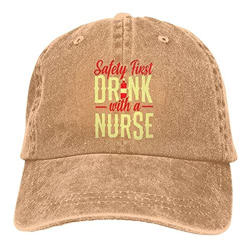 看護師との安全ファーストドリンクソフトカスクケットキャップヴィンテージ調節可能なレトロな帽子野球帽