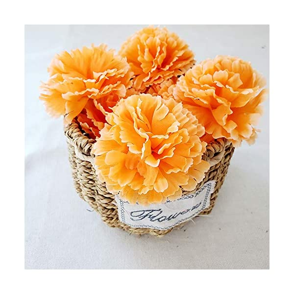 TRvancat Marigold Flower Heads Bulk 15Pcs, Silk Artificial Flowers for DIY Wedding Party Deor 10cm(Orange)