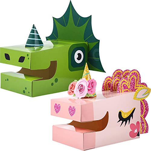 2 Set Dinosaur Unicorn Mailbox Kit for Dinosaur Cards Set, Unicorn and Dinosaur for Party Greeting Cards Classroom Exchange Valentine Art Craft Set for Children Classroom Gift Unicorn Party Favors Dec