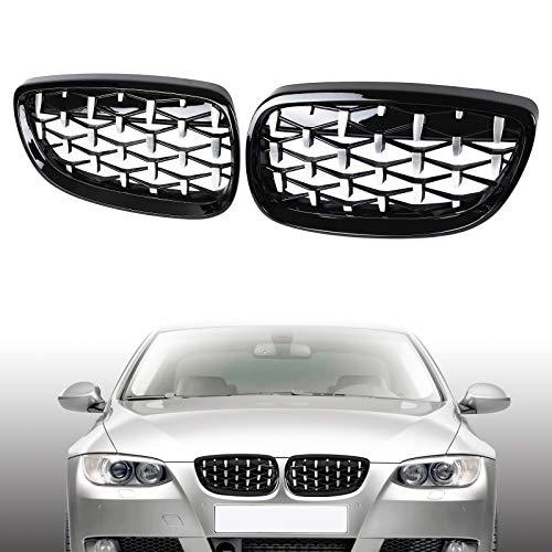 AUFER Griglia per griglia del rene anteriore a rete diamantata adatta per BMW Serie 3 M3 E92 E93 328i 335i 2 porte 2006-2010 Mezza cromata-nera lucida