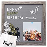 Fuyit Felt Letter Board 12 x 12 inch Soft and Flexible EVA Memo Board for Photo Display with Total 600...