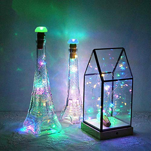 Uonlytech Solar Wine Bottle Lights with Cork, LED Copper Wire Fairy Lights for Christmas Home (6Pcs)
