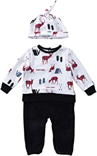 Frecoccialo Baby Kleidung Set 3pcs Langarm Strampler Overall Hut Outfits Hirsch Spielanzug Set Neugeborenes M/ädchen Jungen Kleidung Hosen