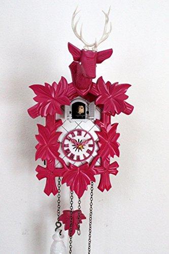 CLOCKVILLA HETTICH-UHREN Design Kuckucksuhr Moderne Quarz Uhr Hirschkopf weiß pink Quarzuhr neu
