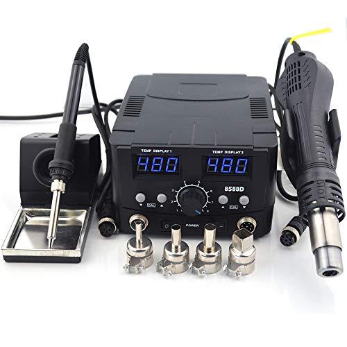 DjfLight 2 IN 1 Lötstation Heißluftpistole, 800 Watt LED Digital Rework Station Elektrische Lötkolben Für Telefon PCB IC SMD BGA Schweißen