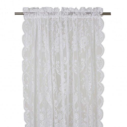 Skandinavisch Französisch Design Gardinenschal Gardine Vorhang 2er Set 'Rosanna' 120 x 240 cm (BxH) weiß Landhaus Shabby French Vintage Nostalgie
