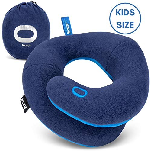 BCOZZY Kids Chin Supporting Travel Pillow- Keeps The Child's Head from Bobbing up and Down in Car Rides- Comfortably Supports The Head, Neck and Chin in Any Sitting Position. Child Size, Navy