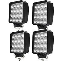 HIKARI独占販売 48W LED作業灯 LED ワークライト led投光器 防水 6000lm PMMAレンズ 30%UP 投光 広角 拡散 12/24V兼用 フォークリフト トラック ホワイト 4個セット「A-TD02x4」
