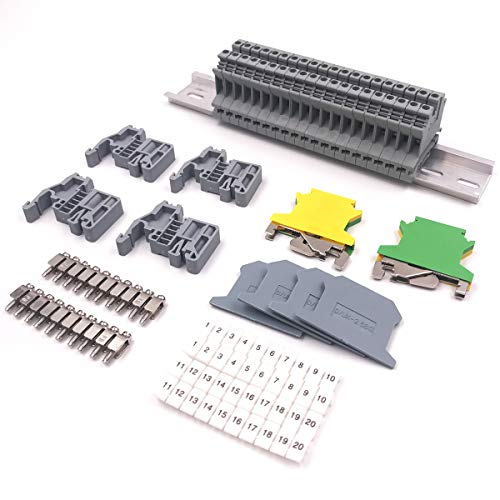 Erayco DIN Rail Terminal Blocks Kit, 20Pcs UK-2.5N 12 AWG Terminal Blocks, 2Pcs Ground Blocks, 2Pcs Fixed Bridge Jumpers, 4Pcs End Brackets, 4Pcs End Covers, 4Pcs Marker Strip, 1Pcs 8' Aluminum Rail