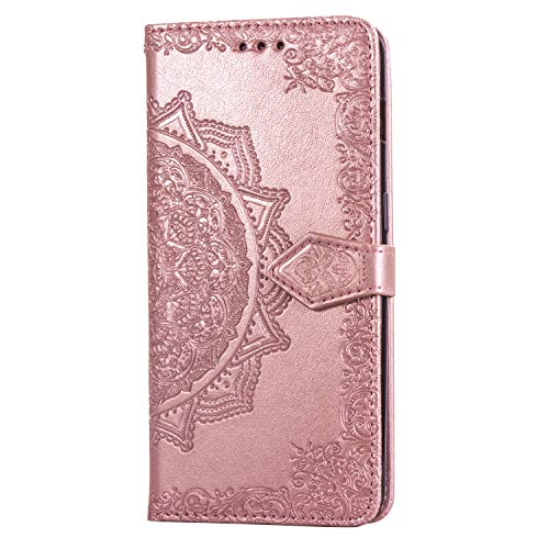 Yiizy Handyhüllen für Lenovo A2010 Ledertasche, Spirale Blume Stil Lederhülle Brieftasche Schutzhülle für Lenovo A2010 hülle Silikon Cover Magnetverschluss Kartenfächer (Roségold)