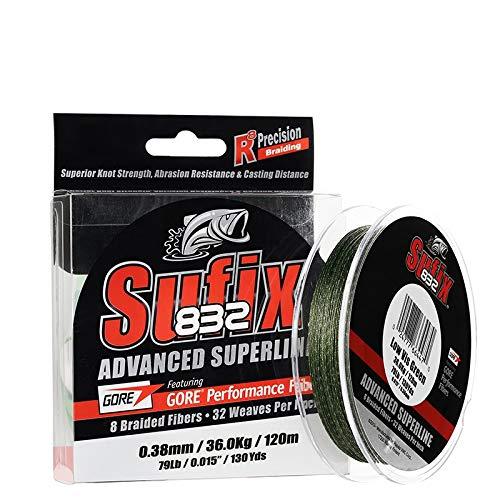 Sufix - 832 Advanced Superline 120, Color Verde, Talla 0.150 mm
