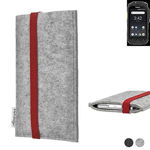 flat.design Handy Hülle Coimbra für Ruggear RG725 individualisierbare Handytasche Filz Tasche rot grau