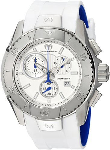 Technomarine Men's UF6 Stainless Steel Quartz Watch with Silicone Strap, White, 25 (Model: TM-616001)