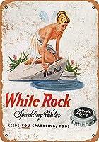 ホワイトロックスパークリングウォーターウォールメタルポスターレトロプラーク警告ブリキサインヴィンテージ鉄絵画装飾オフィスベッドルームリビングルームクラブのための面白いハンギングクラフト