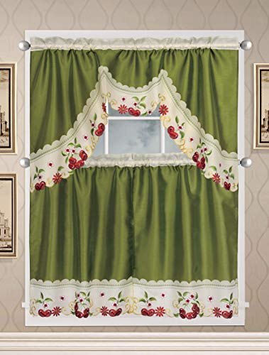 Café Curtains for Kitchen, Bathroom Curtains with Valance and Embroidery (Cherries on Green)