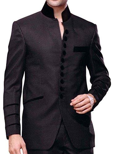 INMONARCH Hommes Collier Gris Nehru Costume Ouvert Avant 2 Pc NS119R36 46 Or S (Hauteur 171 cm a 180 cm) Gris Violet