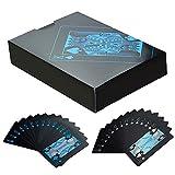 Gogogo 55 Teile / Deck Reines Schwarz Regular Poker Wasserfest Kunststoff PVC Set Spielkarten -